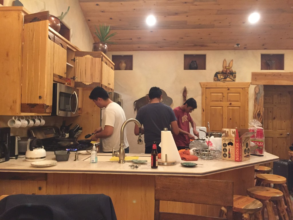 men of the household cooking