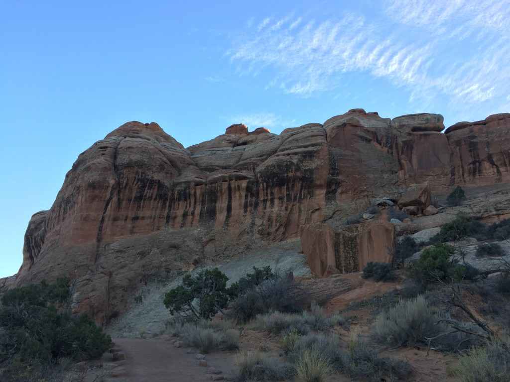 arches national park rocks against blue sky