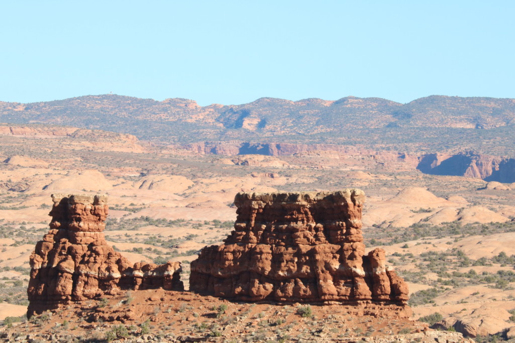 red rock formations at arches national park