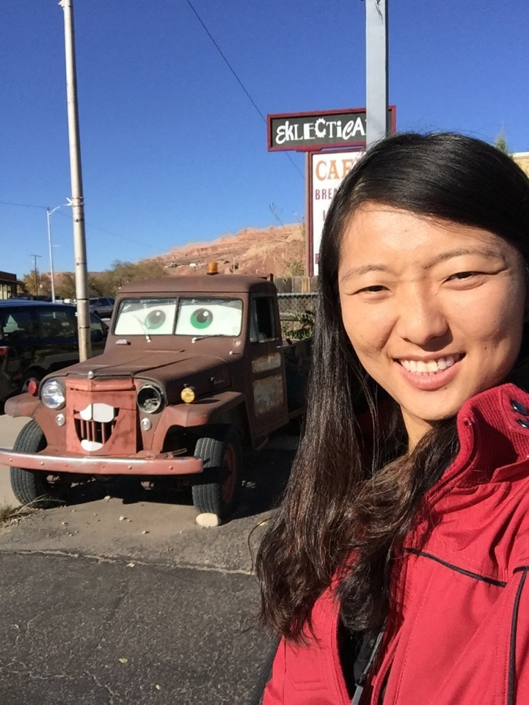 selfie with the truck from the movie cars