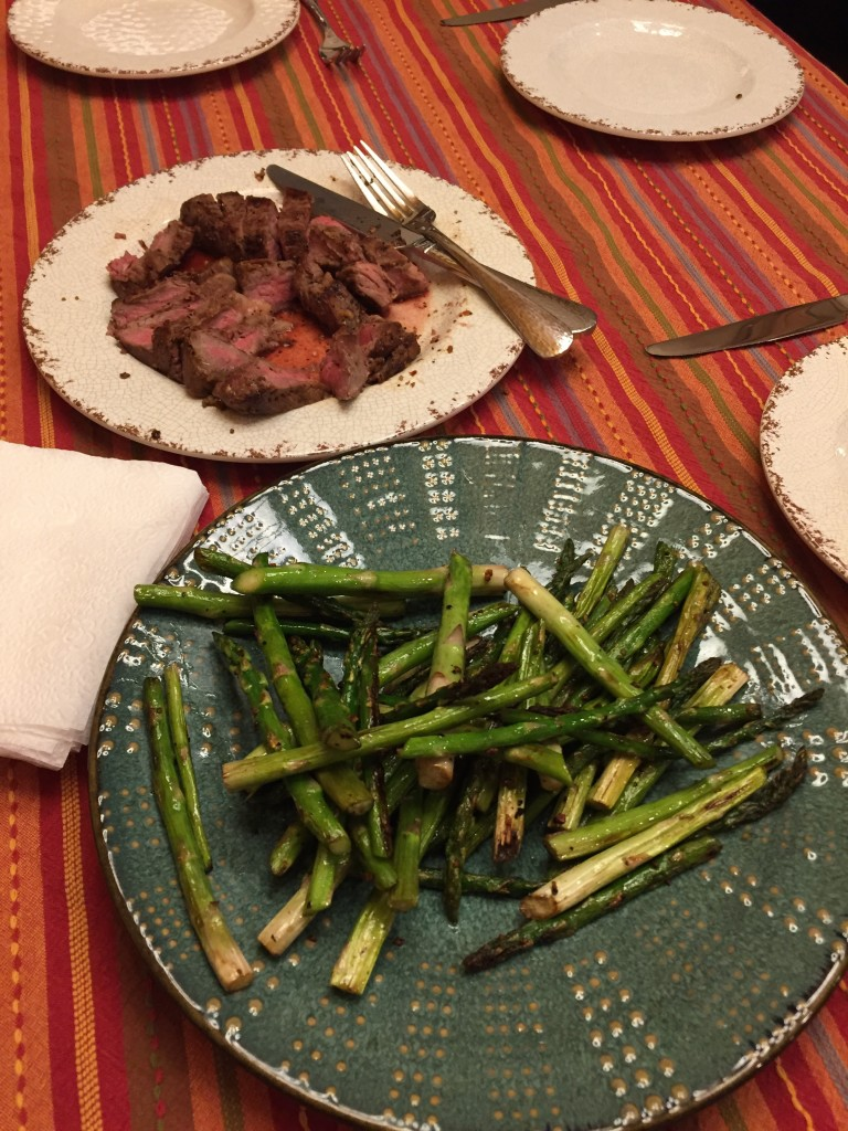 homemade steak and asparagus dinner