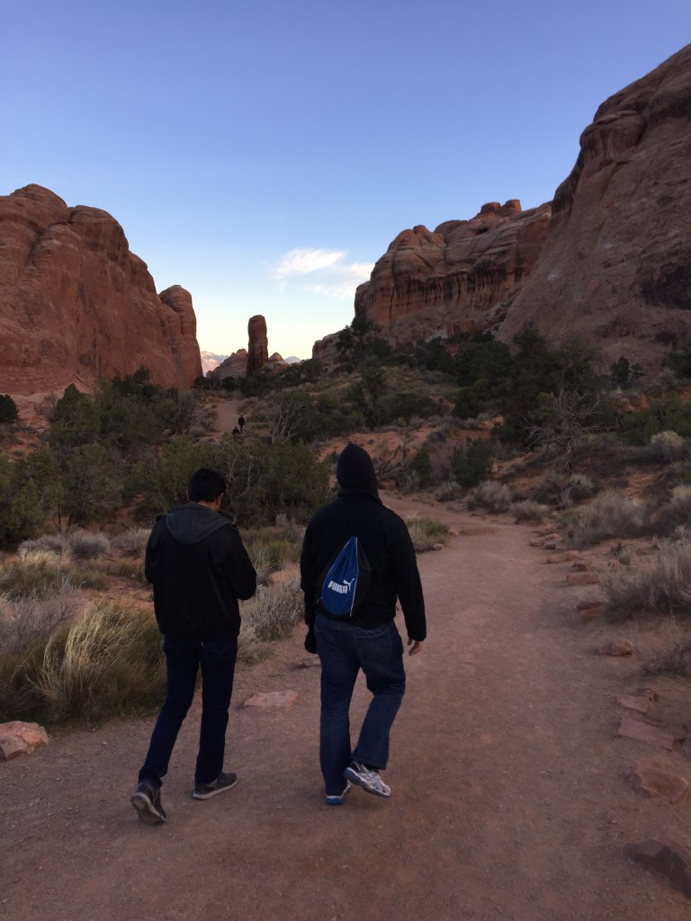 walking on trails at arches national park