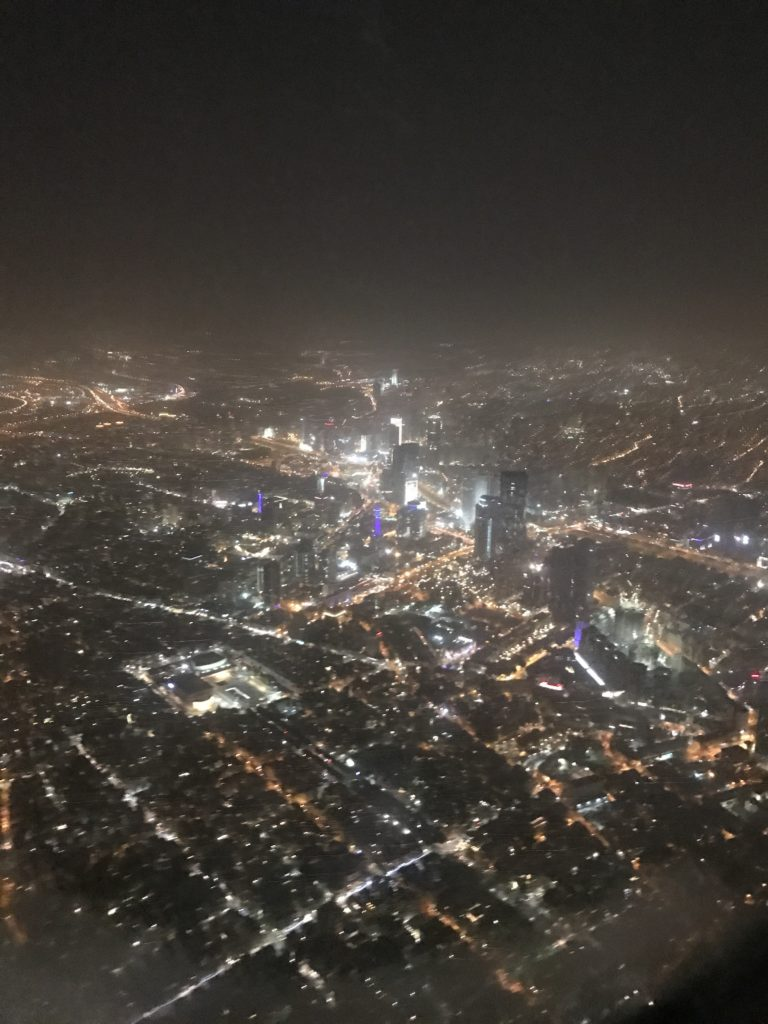 view of tel aviv city from plane at night
