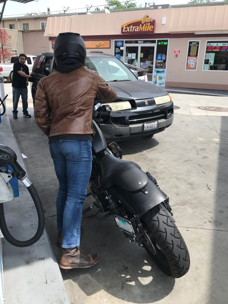getting back on motorcycle after getting gas
