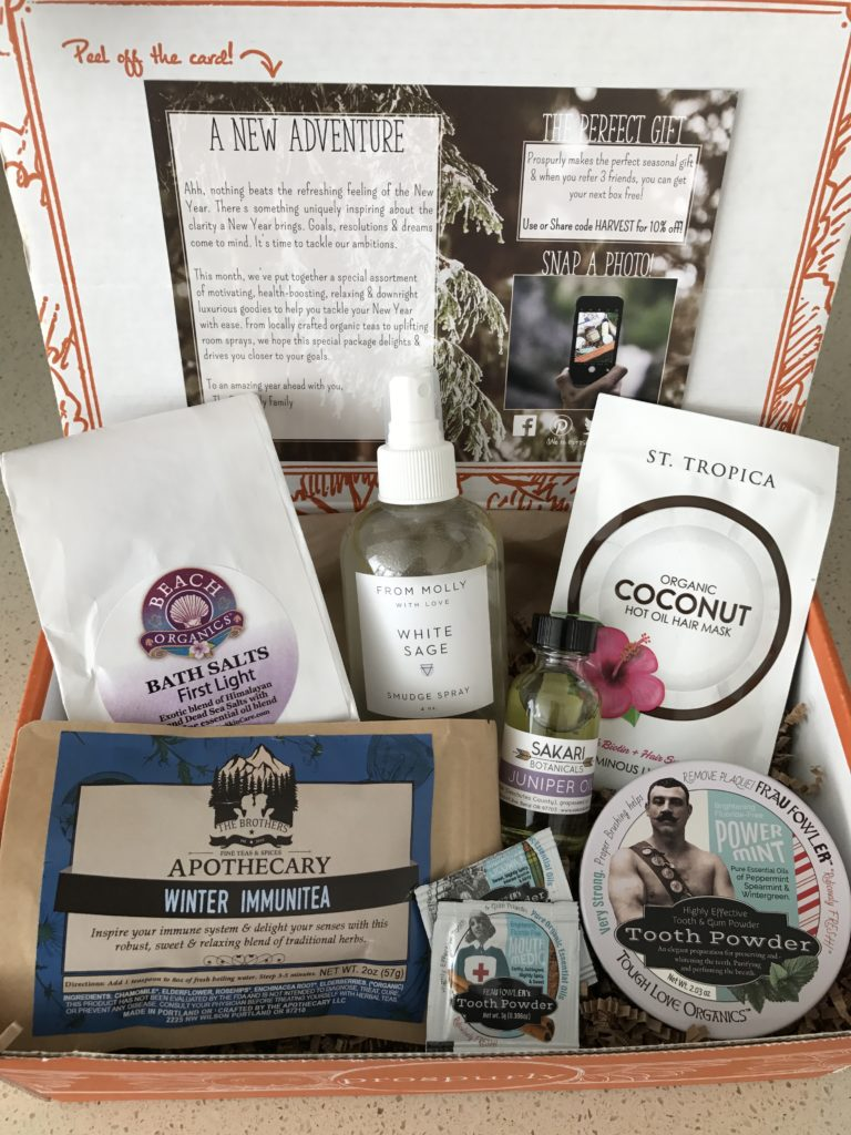 prospurly january 2017 box open with products showing