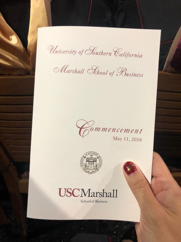 2018 usc marshall business school commencement program cover